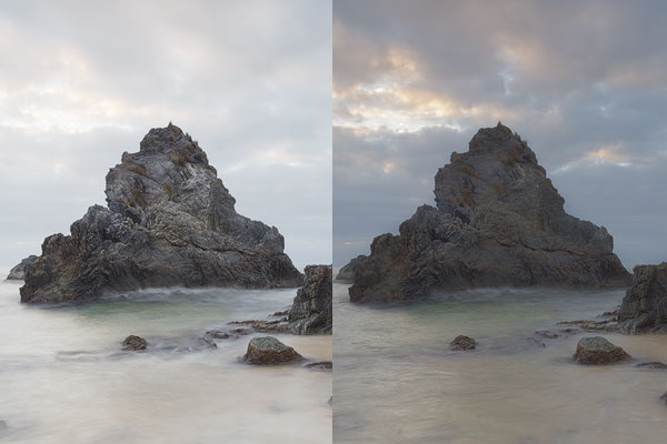 """Notice all the nice detail in the rock on the left, which is the original """"bright"""" exposure.  In this example, I blended it with a dark exposure to recover highlight detail in the sky and clouds. But as a result, lots of the contrast in the rock has been lost leaving it all """"mushy"""". Again, I've over-exaggerated the effect here just to make the point, but hopefully this now helps you know what to be on the lookout for!"""